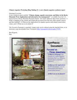 Climate-Aquatics Workshop Blog Mailing #2: A new climatic-aquatics synthesis report
