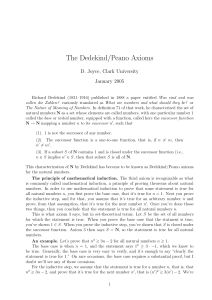The Dedekind/Peano Axioms D. Joyce, Clark University January 2005