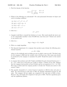 MATH 142 – 502, 504 Practice Problems for Test 1 Fall 2014