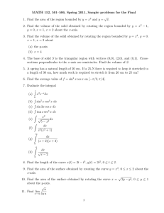 MATH 152, 501–506, Spring 2011, Sample problems for the Final √