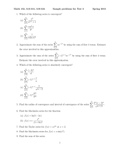 Math 152, 513-515, 519-524 Sample problems for Test 3 Spring 2015