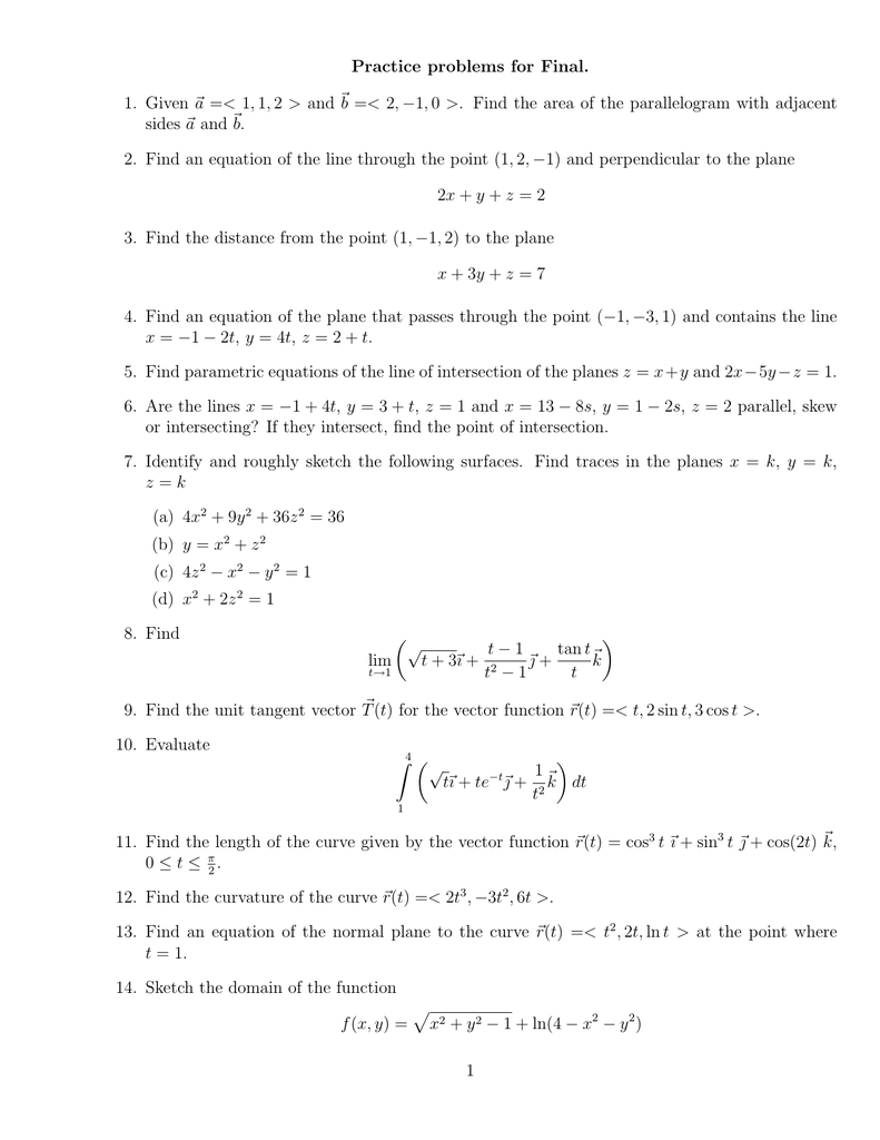 Practice problems for Final