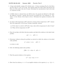 MATH 308-301,302 Summer 2008 Practice Test I