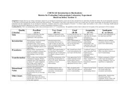 CHEM-342 Introduction to Biochemistry Rubrics for Evaluating Undergraduate Laboratory Experiment
