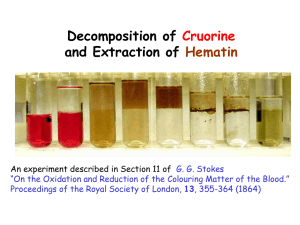 Decomposition of and Extraction of Cruorine Hematin