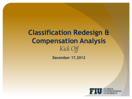 Classification Redesign & Compensation Analysis December 17,2012