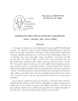 Document: SESD-97-01 Version 2.0, 06{1998 MODELLING HST FOCAL-LENGTH VARIATIONS