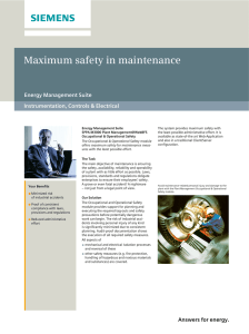 Maximum safety in maintenance Energy Management Suite Instrumentation, Controls & Electrical