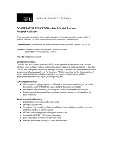 CO-OPERATIVE EDUCATION – Arts & Social Sciences Research Assistant