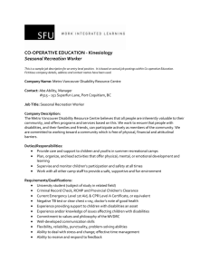 CO-OPERATIVE EDUCATION - Kinesiology Seasonal Recreation Worker