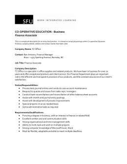 CO-OPERATIVE EDUCATION - Business Finance Associate