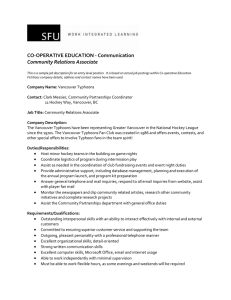CO-OPERATIVE EDUCATION - Communication Community Relations Associate