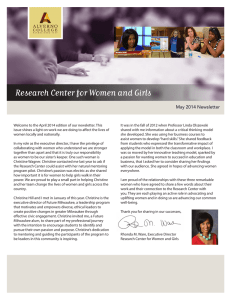 Research Center for Women and Girls May 2014 Newsletter