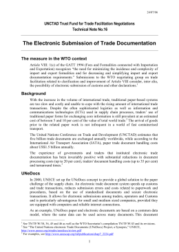 The Electronic Submission of Trade Documentation
