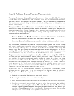 Kenneth W. Regan: Human-Computer Complementarity