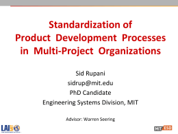 Standardization of Product  Development  Processes in  Multi-Project  Organizations