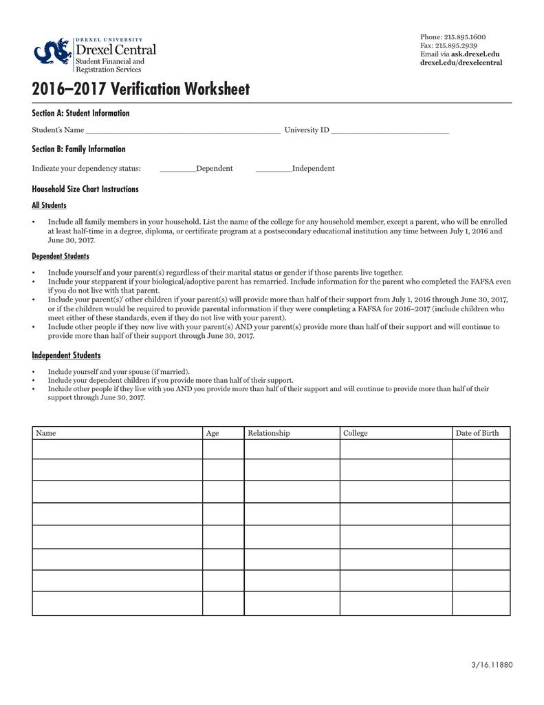 worksheet Verification Worksheet Dependent Student verification worksheet section a student information