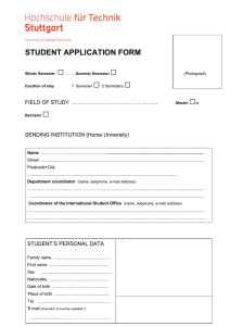 □  STUDENT APPLICATION FORM