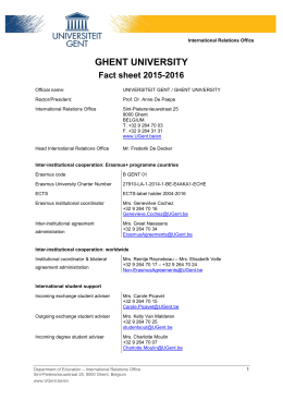 GHENT UNIVERSITY Fact sheet 2015-2016