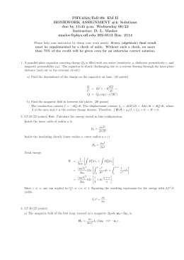 PHY4324/Fall 09: EM II HOMEWORK ASSIGNMENT #4: Solutions Instructor: D. L. Maslov