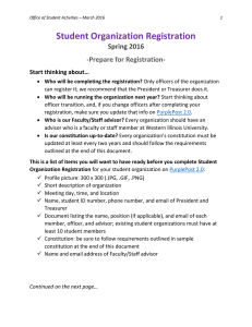 Student Organization Registration Spring 2016 -Prepare for Registration- Start thinking about…