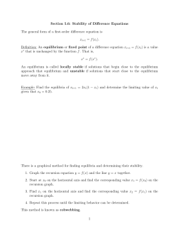 Section 5.6: Stability of Difference Equations