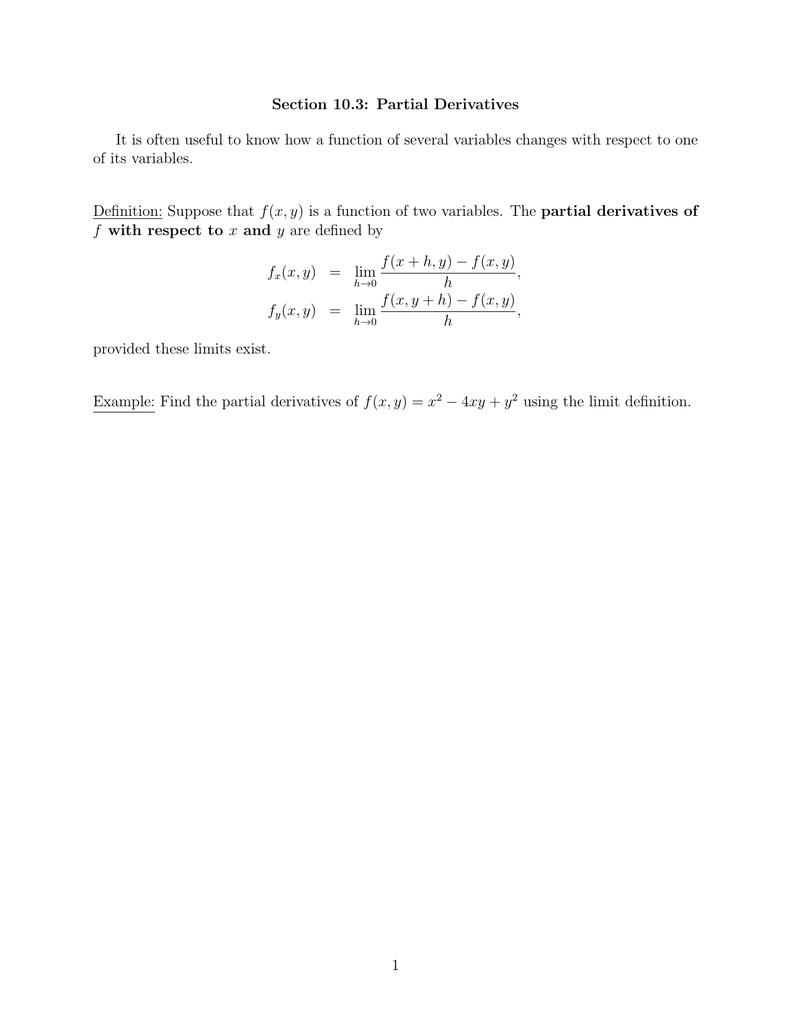 Section 10 3: Partial Derivatives