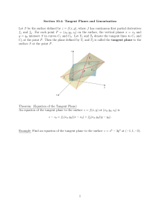 Section 10.4: Tangent Planes and Linearization