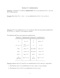 Section 5.7: Antiderivatives