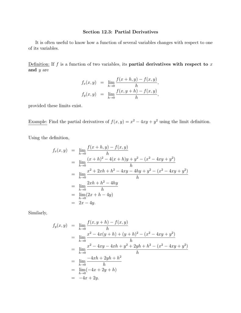 Section 12 3: Partial Derivatives