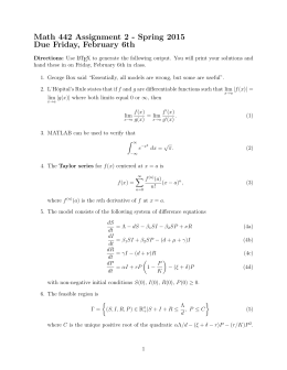 Math 442 Assignment 2 - Spring 2015 Due Friday, February 6th