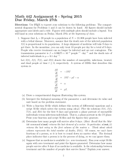 Math 442 Assignment 6 - Spring 2015 Due Friday, March 27th