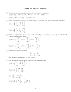 MATH 308 EXAM 3 REVIEW − t − 2t
