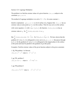 Section 12.8  Lagrange Multipliers  subject to the