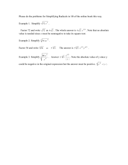 Please do the problems for Simplifying Radicals in 1B of...  Example 1.  Simplify