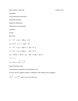 Exam 1 Review   Math 150  Jennifer Lewis Vocabulary