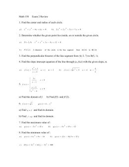 Math 150     Exam 2 Review