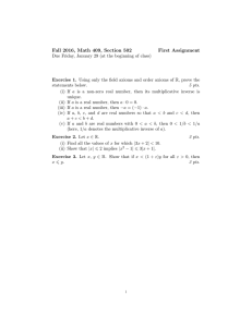 Fall 2016, Math 409, Section 502 First Assignment