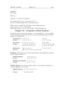 Math 150 – Fall 2015 Chapter 1A 1 of 4 Notation
