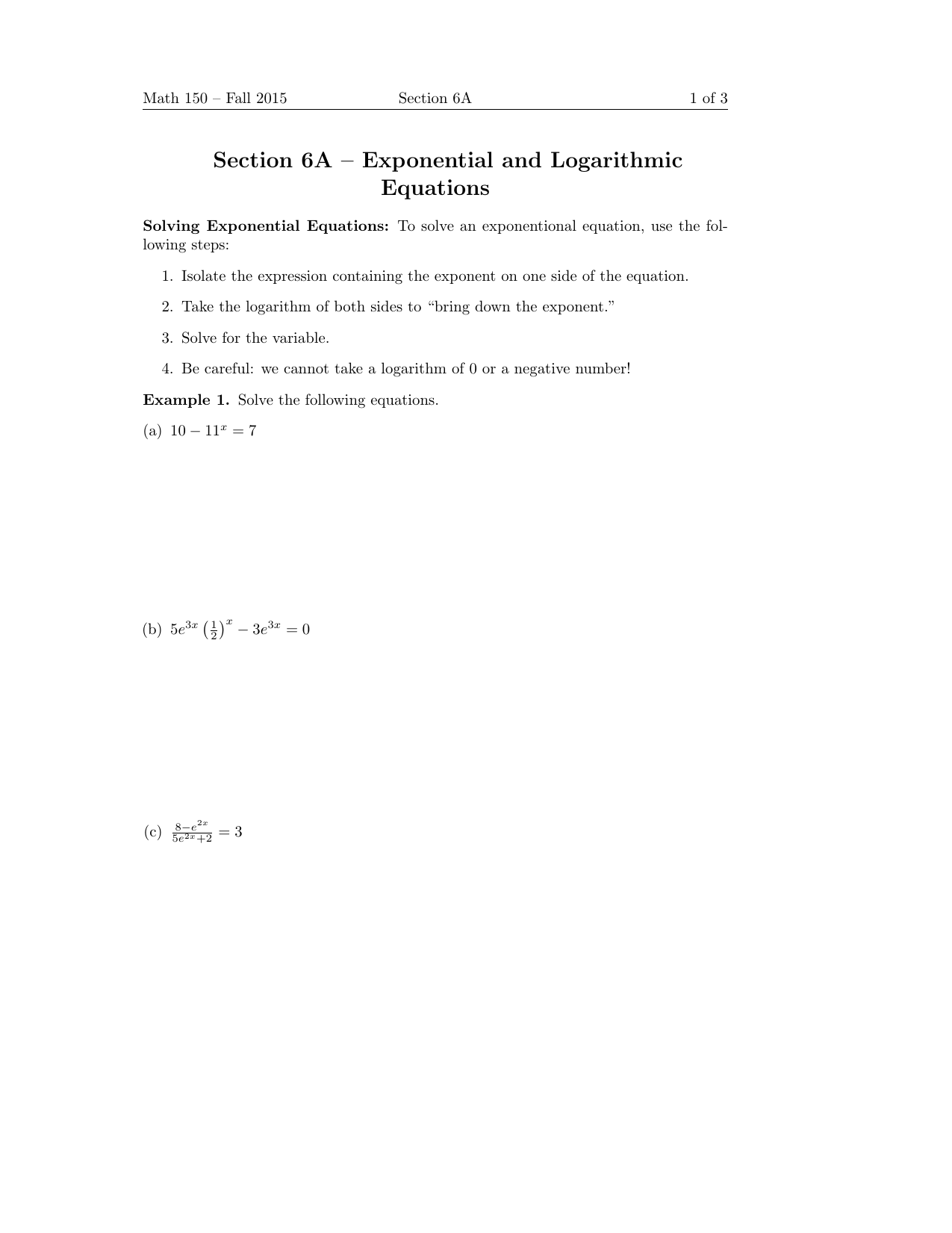 Section 6a Exponential And Logarithmic Equations