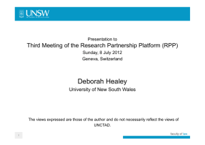 Deborah Healey Third Meeting of the Research Partnership Platform (RPP) Presentation to