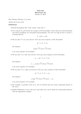 Math 654 Homework #2 January 27, 2013 Due Tuesday, February 5, in class.