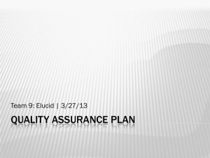 QUALITY ASSURANCE PLAN Team 9: Elucid | 3/27/13