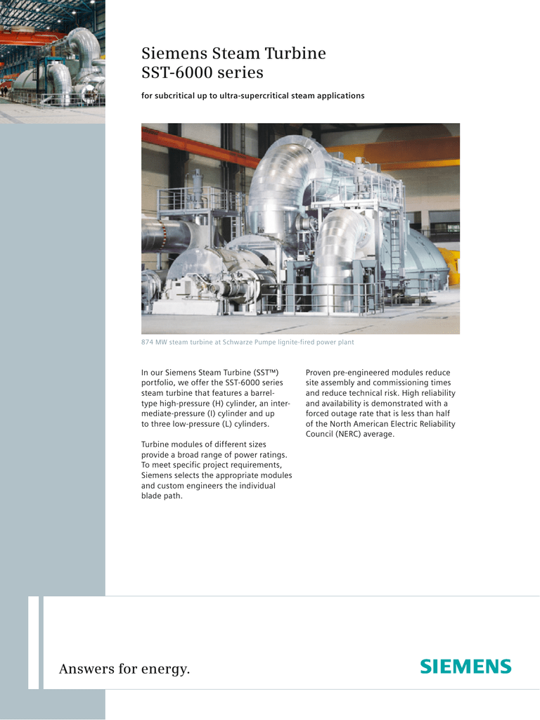 Siemens Steam Turbine SST 6000 series