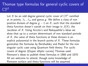 Thomae type formulas for general cyclic covers of CP