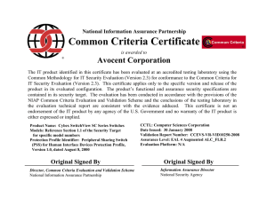Criteria Certificate Common Avocent Corporation