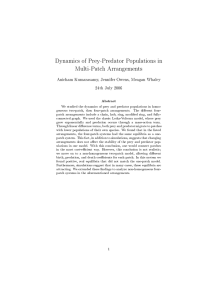 Dynamics of Prey-Predator Populations in Multi-Patch Arrangements 24th July 2006