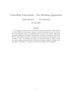 Controlling Tuberculosis: Two Modeling Approaches Andrew Basinski John Holodnak 28 July 2008