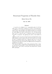 Structural Properties of Wavelet Sets Zhiwei Steven Wu July 22, 2009
