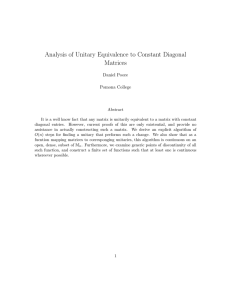 Analysis of Unitary Equivalence to Constant Diagonal Matrices Daniel Poore Pomona College